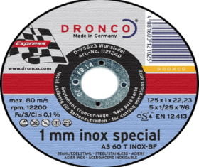 Δίσκος Κοπής Σιδήρου 125x1x22 DRONCO 1mm INOX SPECIAL08.01.0808